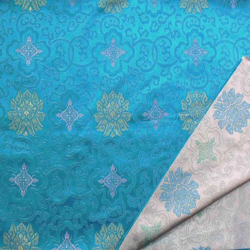 0 5 Yard Faux Silk Chinese Brocade Fabric Antique Blue W