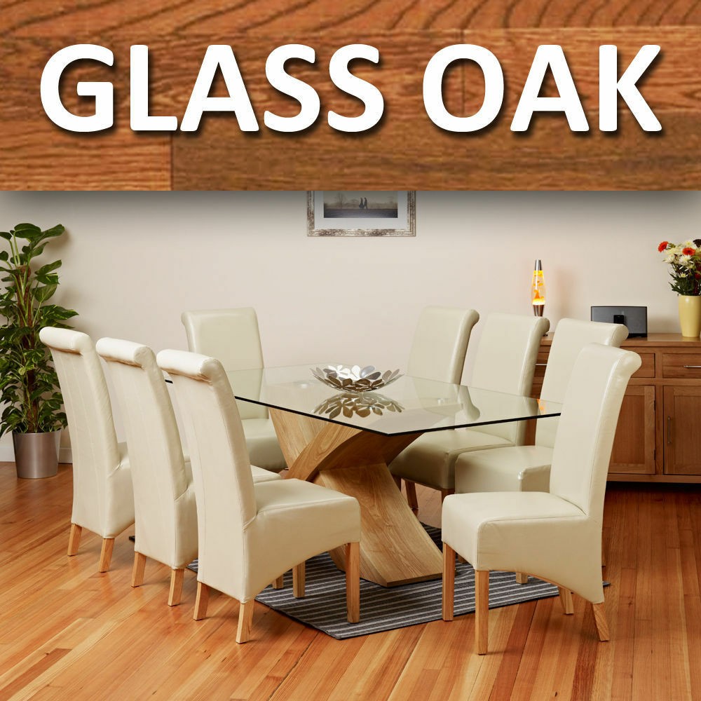 Oak Chairs For Kitchen Table Glass Top Oak Cross Base Dining Table W 6 8 Leather Chairs Room