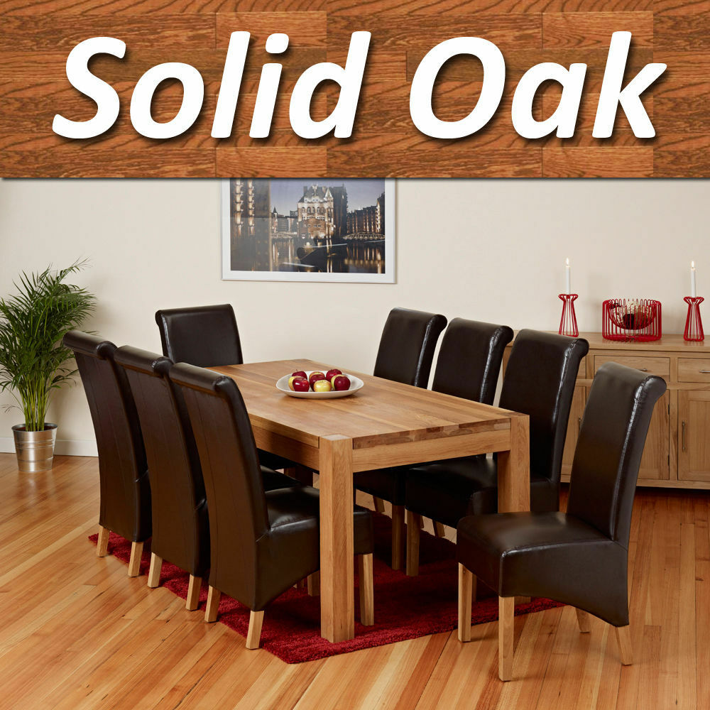 100 solid oak dining table set room furniture with 6 8 leather chair