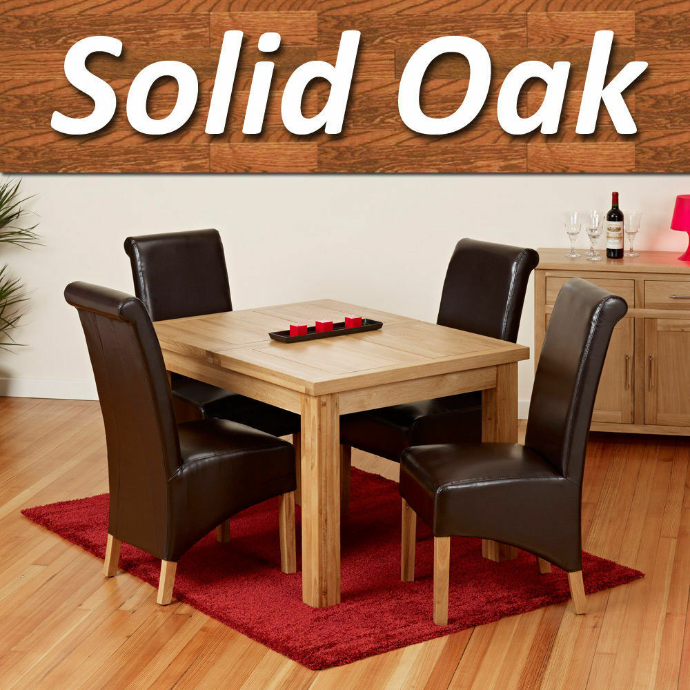 oak single extending dining table set furniture with 4 chairs ebay