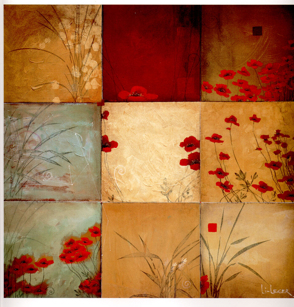 Poppy flowers mural ceramic backsplash decor tile 19 ebay for Clay tile mural