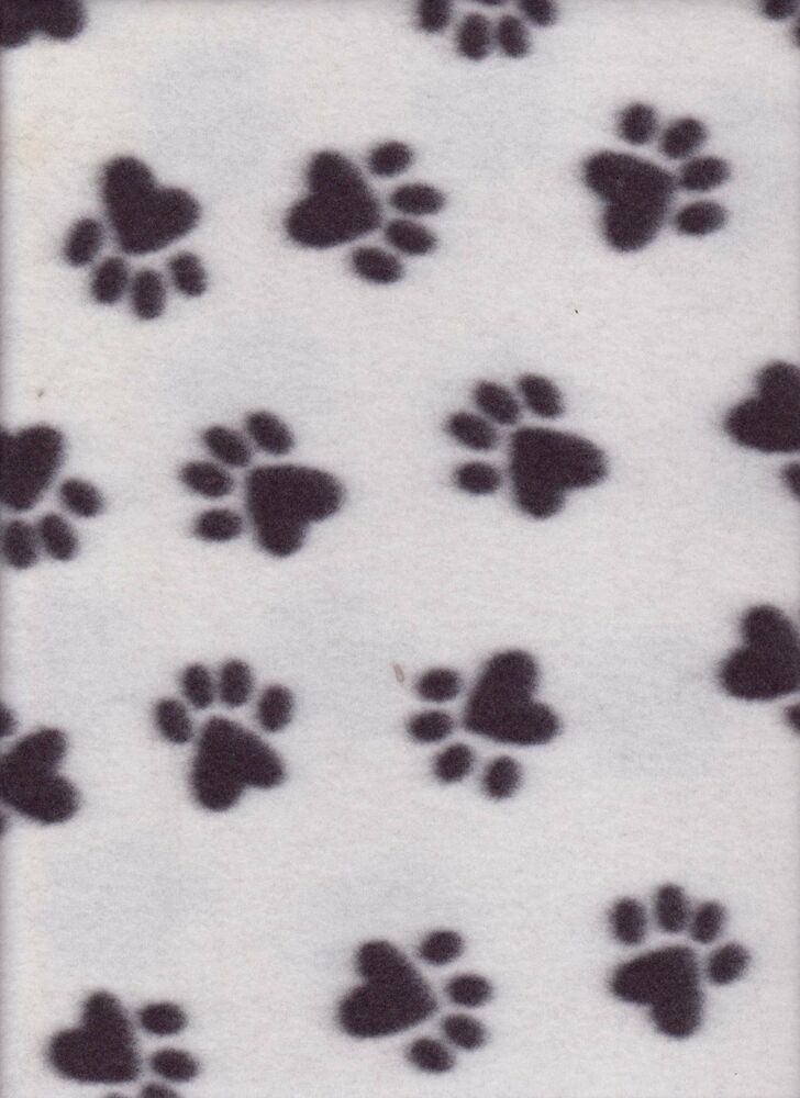 paw print black and white fleece fabric by the yard flc189 ebay. Black Bedroom Furniture Sets. Home Design Ideas