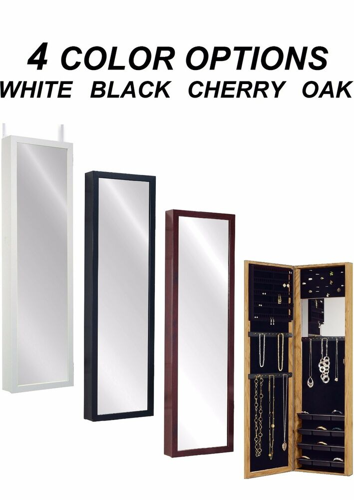 Mirror jewelry armoire over door hanger wall mount for Mirror jewelry storage