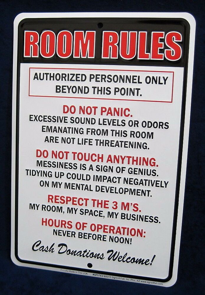 room rules us made embossed metal tin sign teen