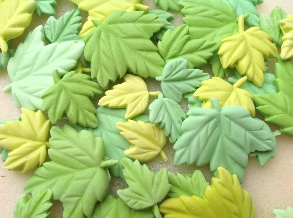 Cake Decorating Ivy Leaves : 12 edible sugar green maple/ivy leaves cupcake toppers ...