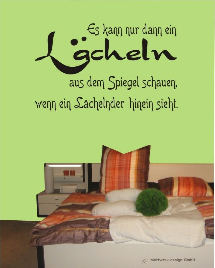 wandaufkleber wandtattoo spruch l cheln aus dem spiegel gl ck gef hl ebay. Black Bedroom Furniture Sets. Home Design Ideas