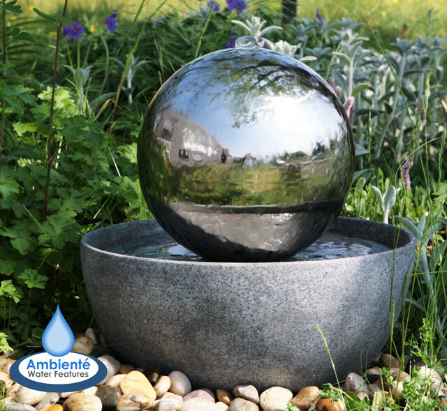 Sphere water feature fountain stainless steel ball led for Fontaine jardin decoration exterieure
