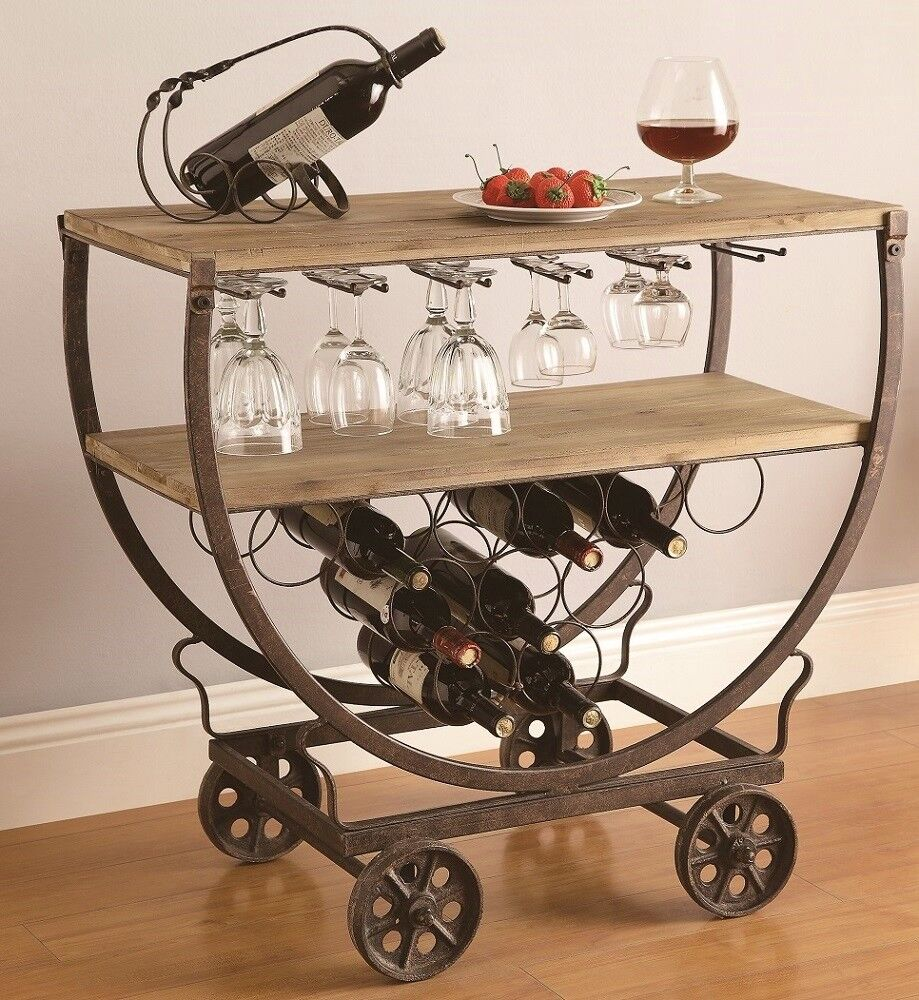 Bentley Industrial Metal And Wood Wheeled Kitchen Serving: Industrial Wine Bar Cart Rolling Table Rustic Warehouse