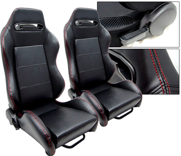 2 Black Leather Red Stitch Racing Seats Ford Mustang
