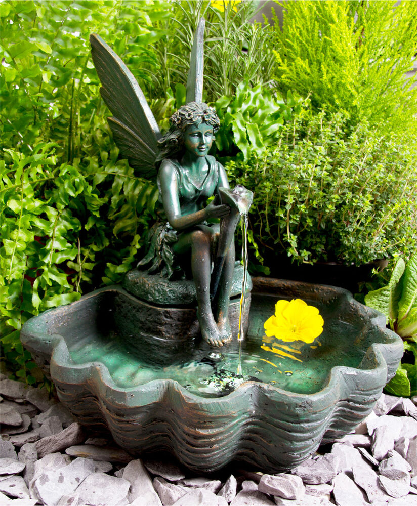 fairy statue sculpture water feature fountain solar. Black Bedroom Furniture Sets. Home Design Ideas