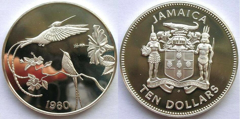 Rare 1980 Jamaica Large Sterling Silver Proof 10 Collibri