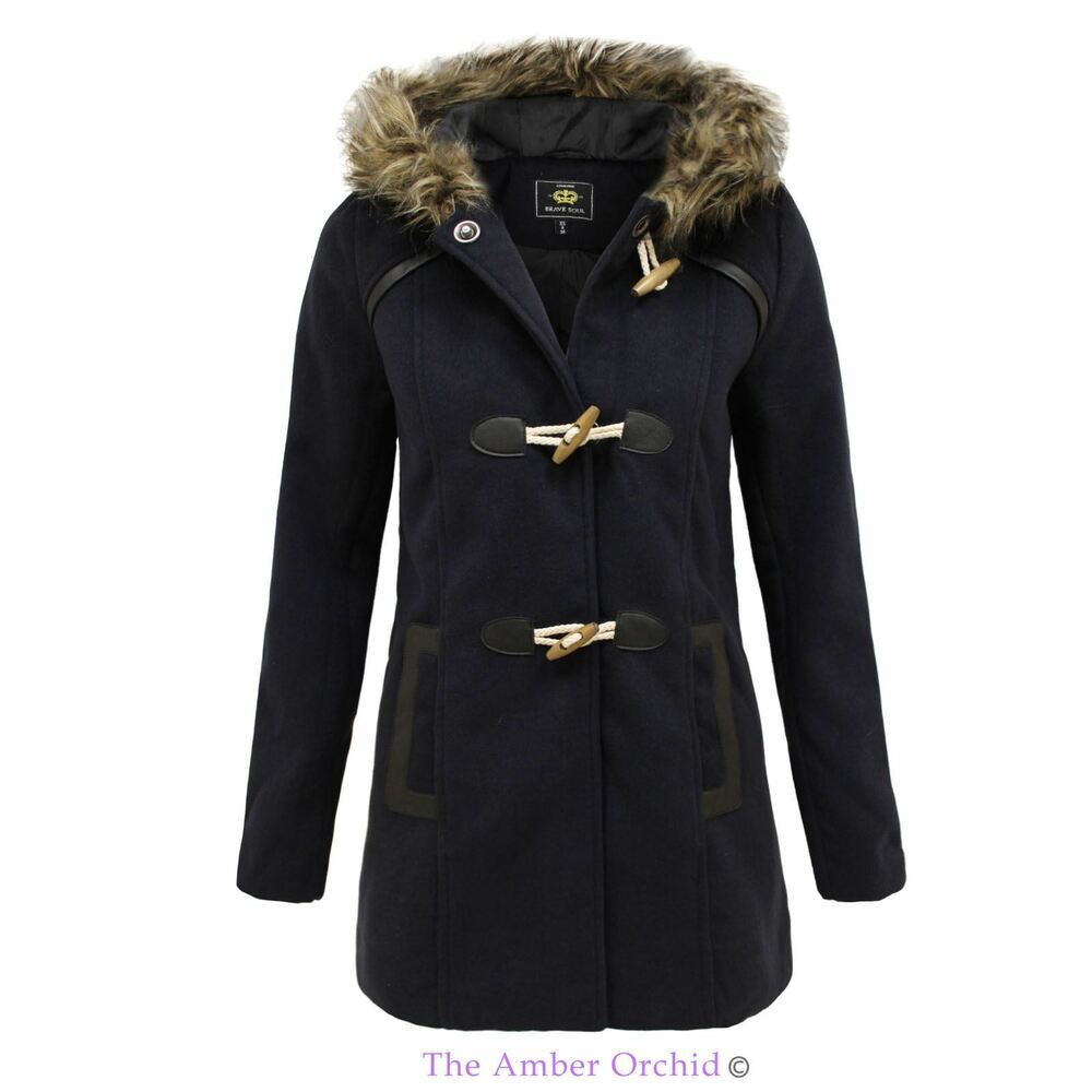 Brave Soul New Womens Stylish Fleece Toggle Parka Jacket