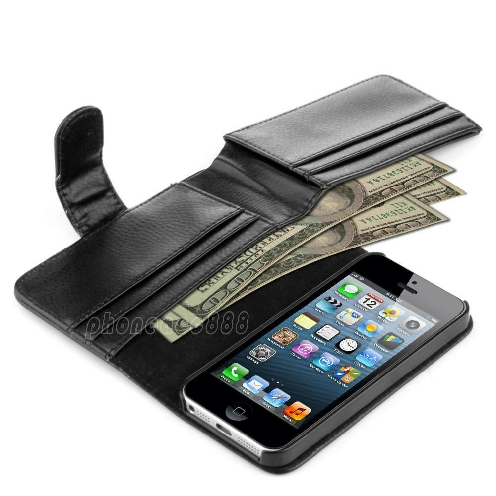 Luxury card holder flip wallet leather case cover for apple iphone 5s 5 black ebay - Iphone 5s leather case ...