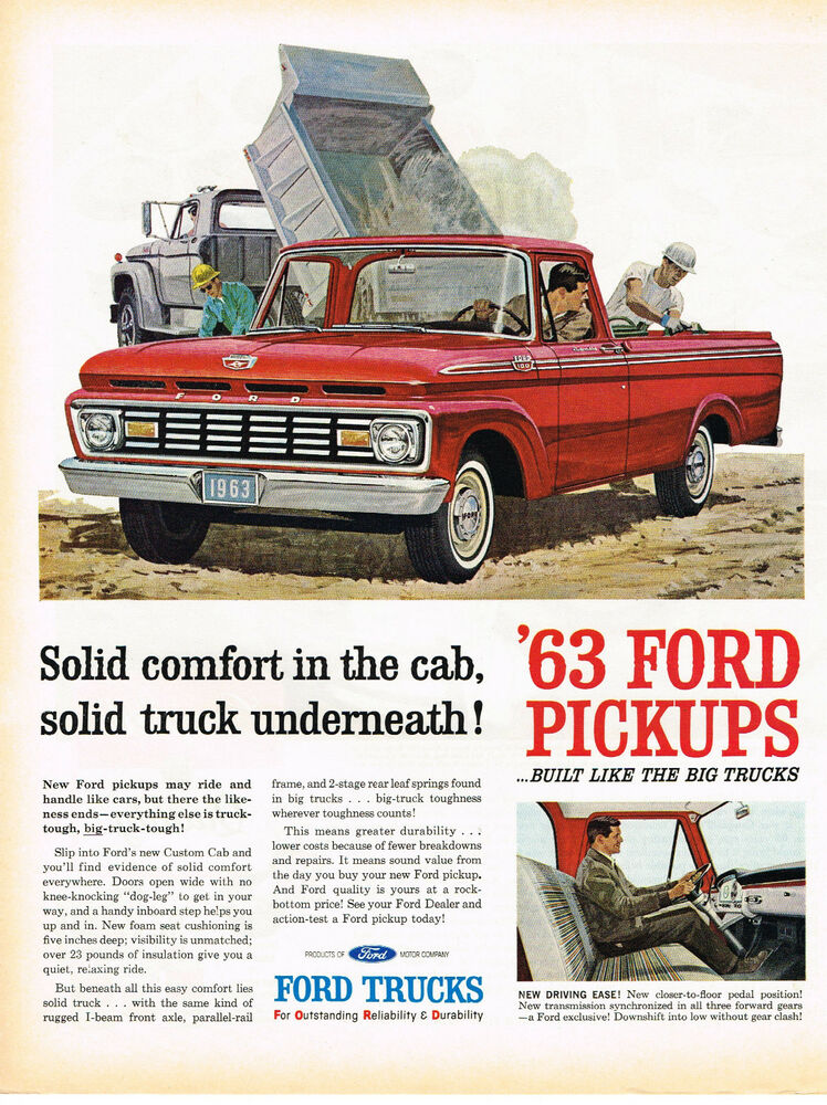 Vintage 1963 magazine ad ford pickups solid comfort in the for Ford motor company phone directory