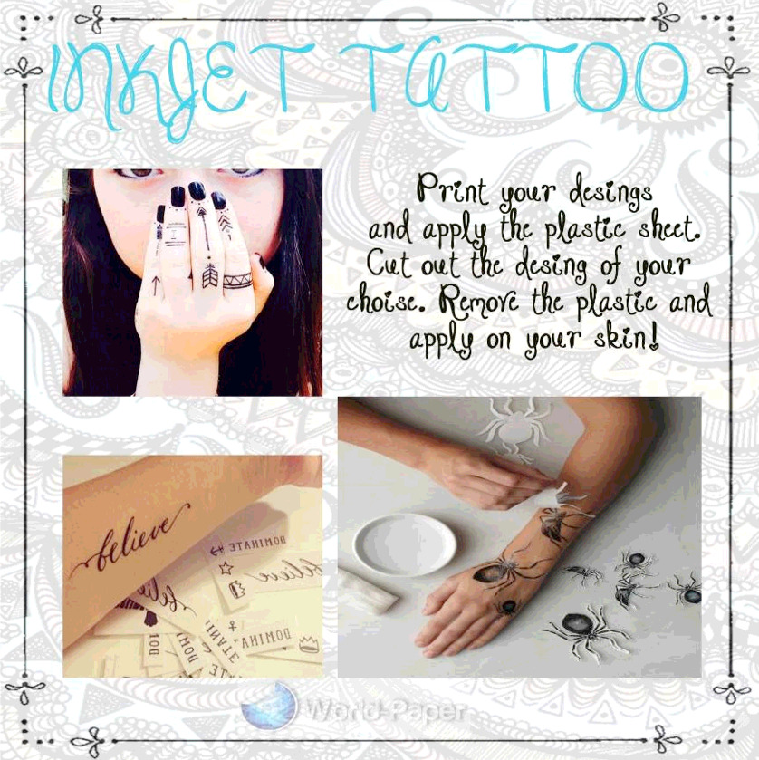 5 sheets temporary tattoo tatoo transfer decal paper for Temporary tattoo printer