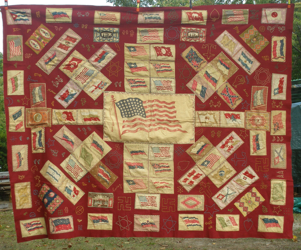 Antique tobacco flannels embroidered quilt early s