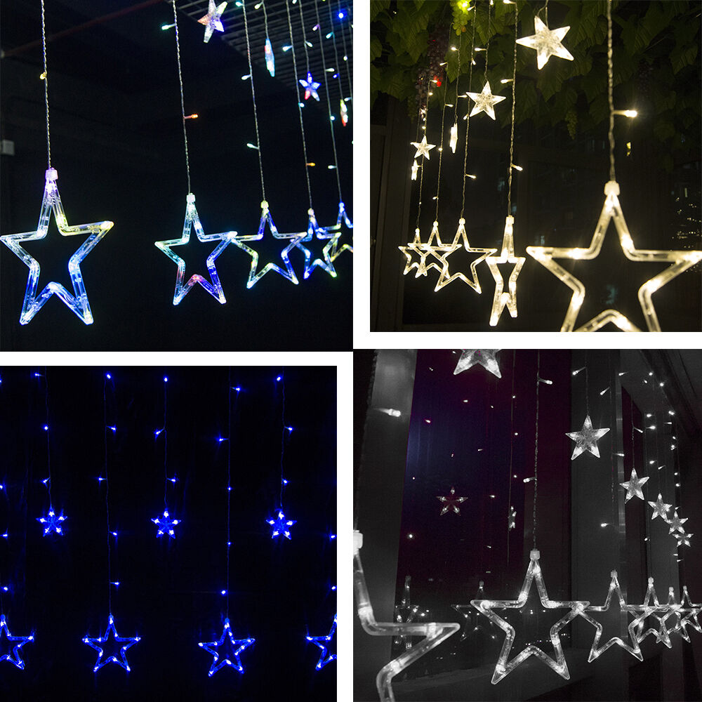 2m 138 led curtain star string fairy light lamp christmas. Black Bedroom Furniture Sets. Home Design Ideas