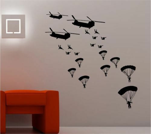 helicopter parachute army soldier wall sticker kids vinyl