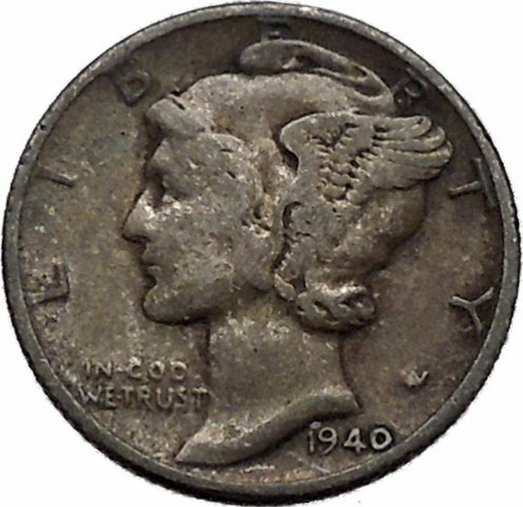 Mercury Winged Liberty Head 1940 Dime United States Silver Coin