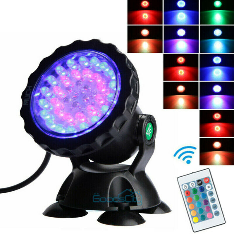 multicolor 36 led underwater spot light for water aquarium garden pond fish tank ebay. Black Bedroom Furniture Sets. Home Design Ideas