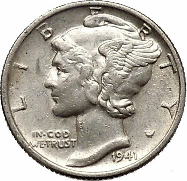 Mercury Winged Liberty Head 1941 Dime United States Silver Coin