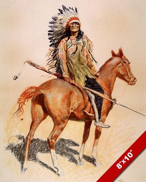 sioux indian chief w horse native american oil painting