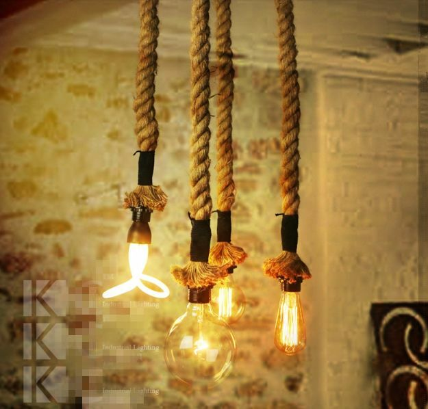 Vintage Hamp Rope Diy Ceiling Lamp Light Glass Pendant