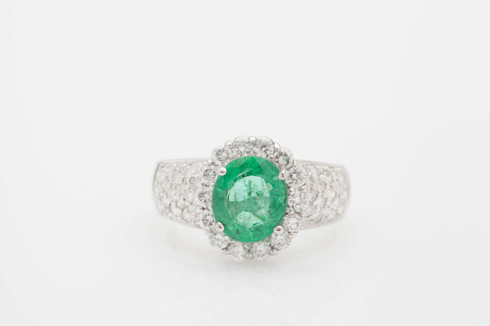 Estate $12 000 6ct Colombian Emerald Diamond HALO 18k White Gold Band Ring
