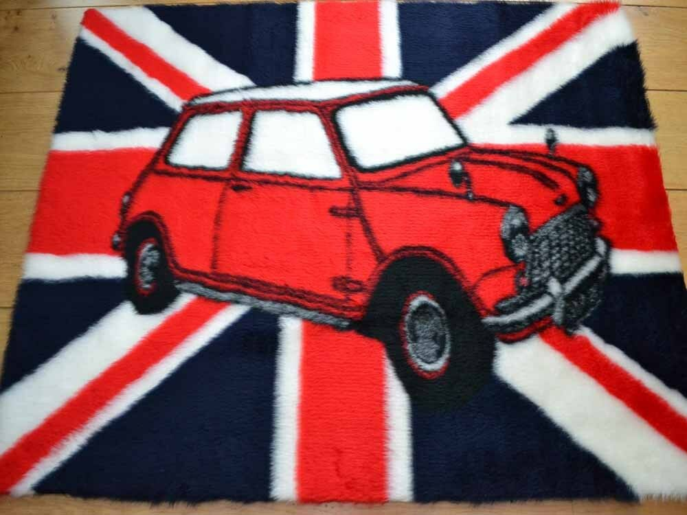 Union Jack Red Mini Cooper Car Rugs Fluffy Furry Kids