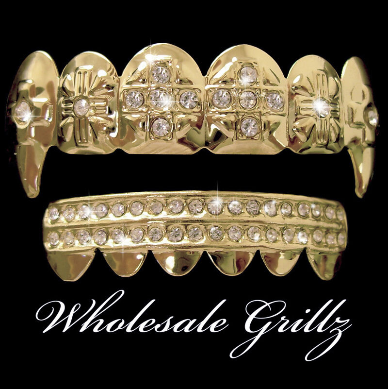 real 14k gold plated iced out grill dracula fang