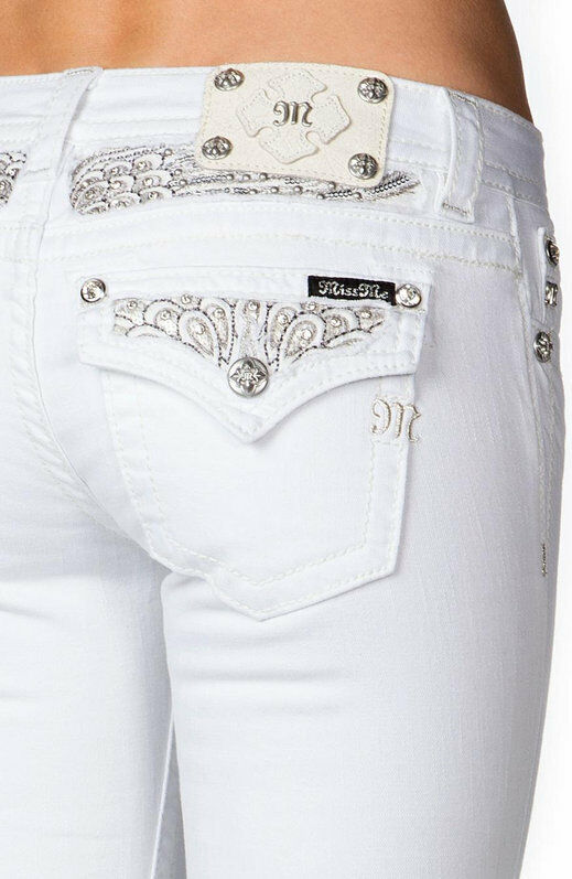 White Bootcut Miss Me Jeans Peacock Feather Sequins Pocket Women ...