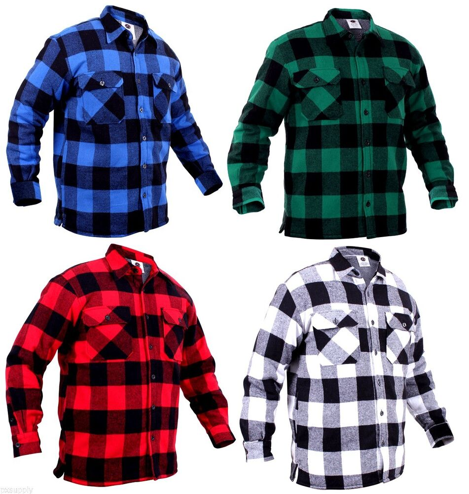 fleece lined buffalo plaid flannel shirt jacket sweater