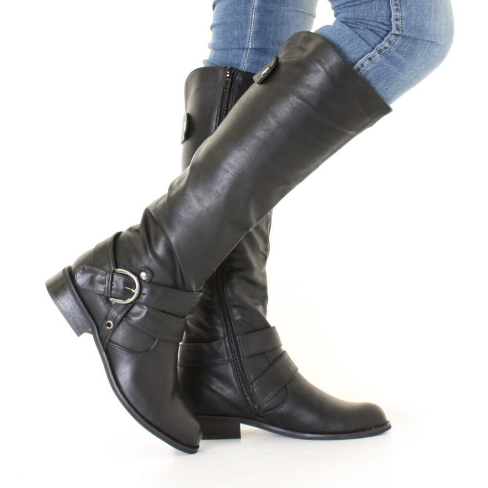 8dfdffc0379 Details about WOMENS BLACK LEATHER LOOK LOW HEEL RIDING BIKER FLAT LADIES  KNEE HIGH BOOTS SIZE
