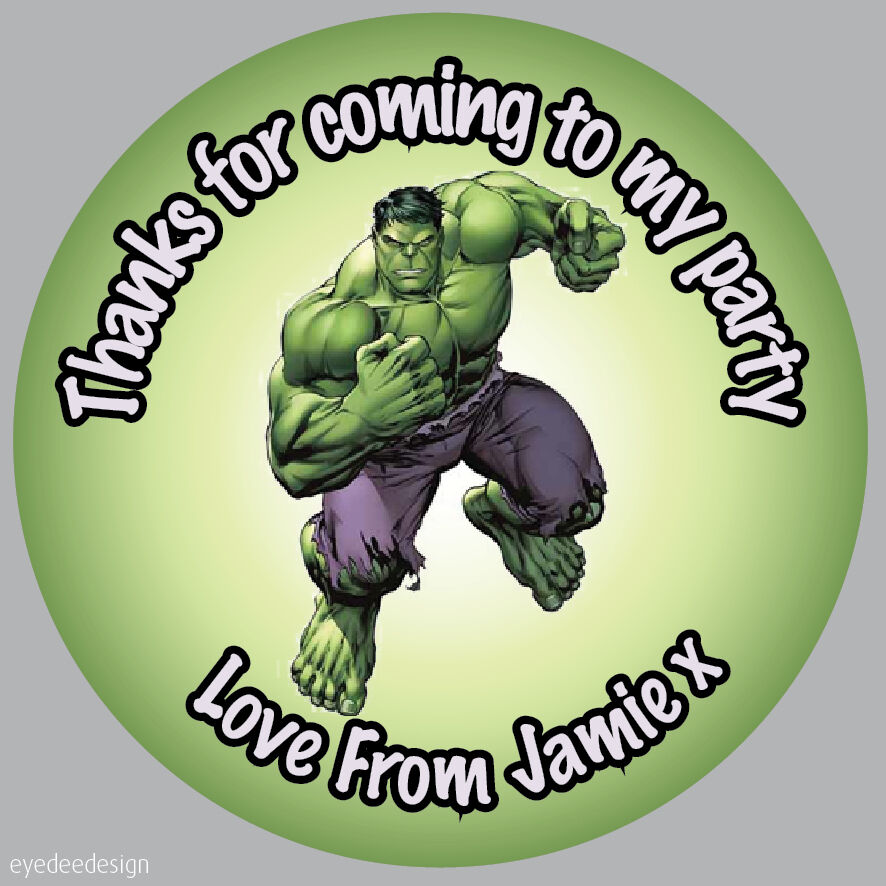 35x personalised hulk marvel avengers birthday stickers party bag thank you 282 ebay