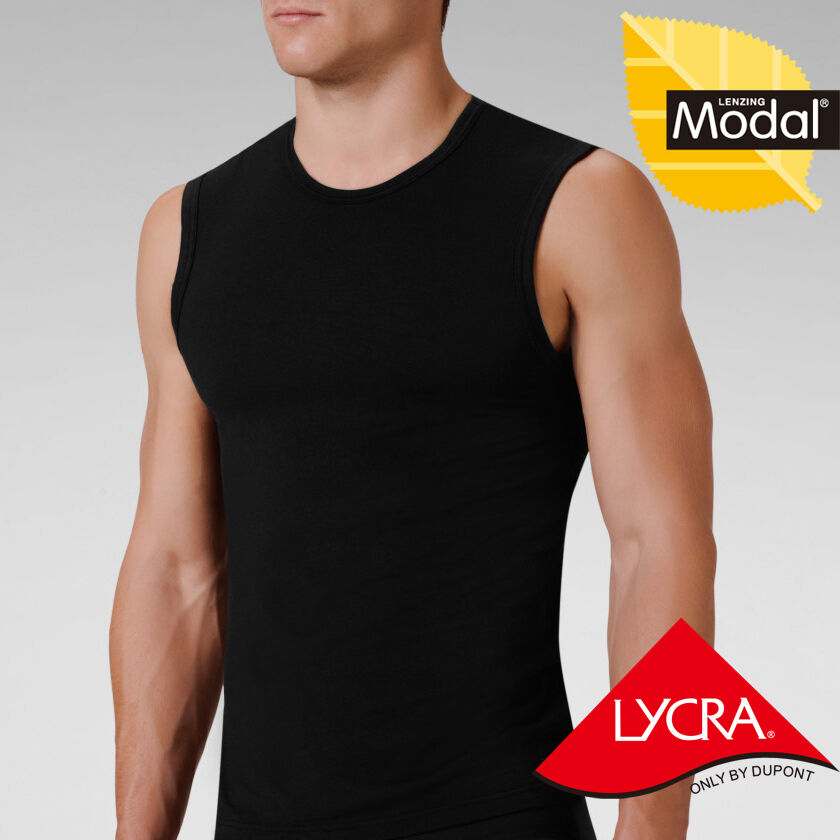 Mens modal crew neck muscle sleeveless t shirt tank tops for Modal t shirts mens