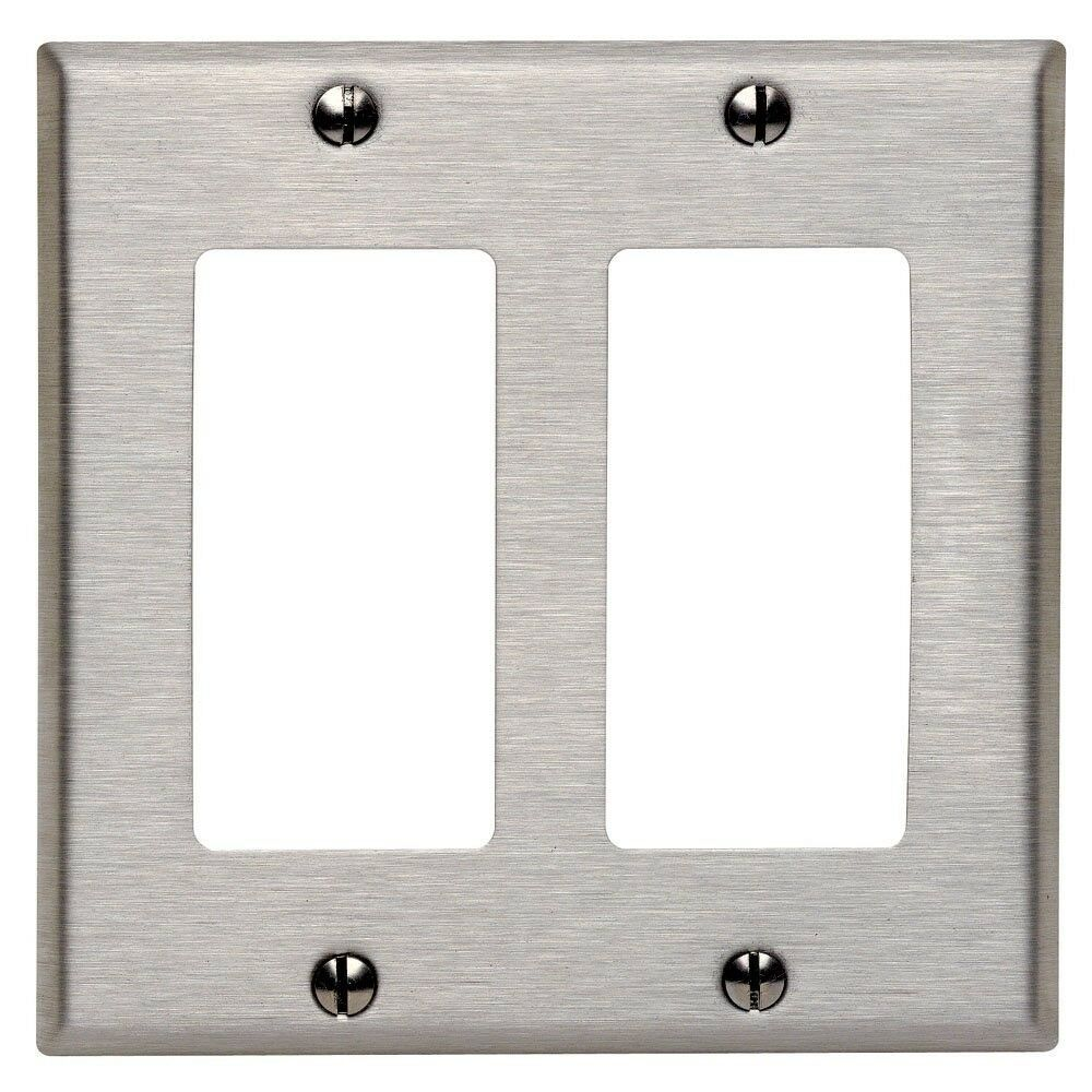 1 Pc New Decorator 2 Gang Stainless Steel Wall Plate