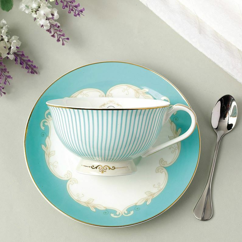 tea cup set cup saucer spoon coffee royal princess blue new bone china porcelain ebay. Black Bedroom Furniture Sets. Home Design Ideas