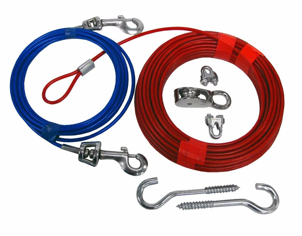 Dog Tie Out Cable 70 Ft Aerial Run Outdoor Leash Yard Wire