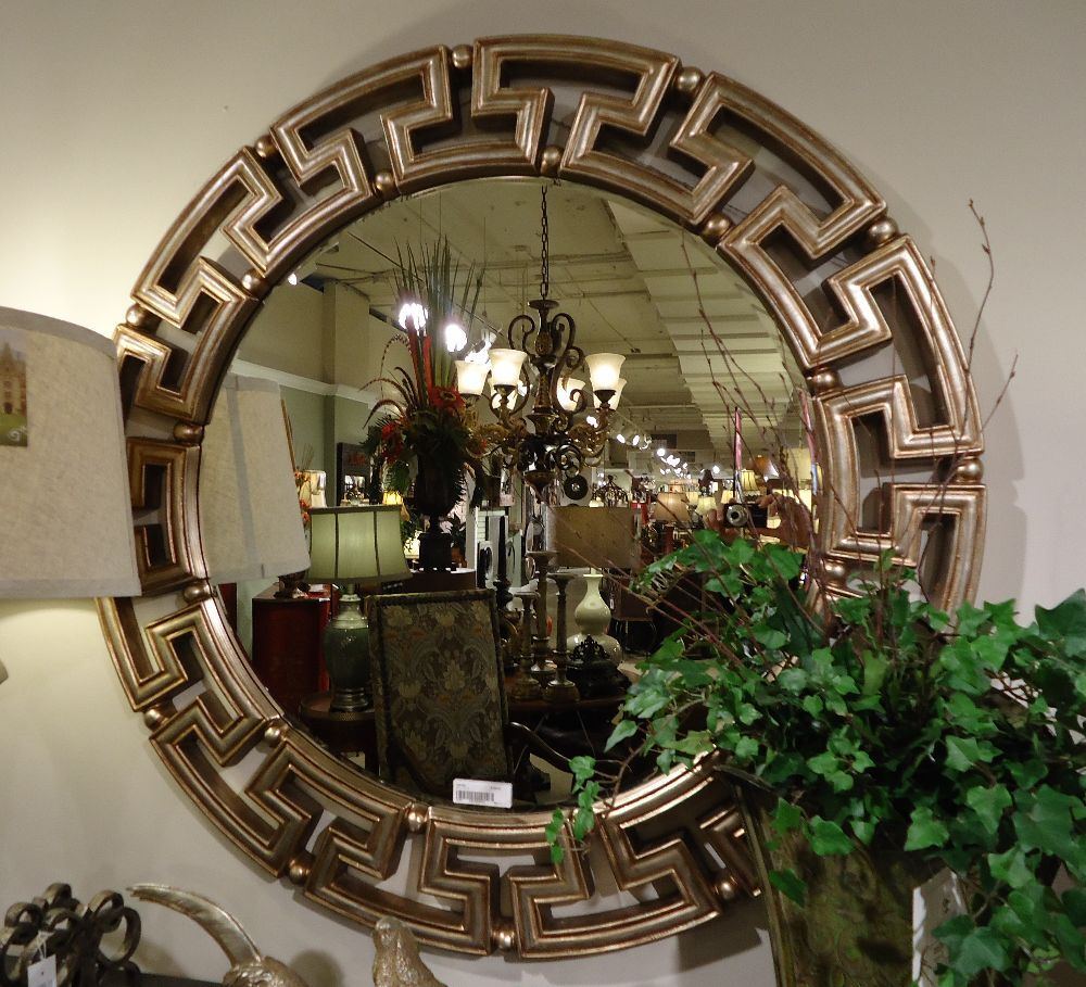 Greek key tuscan gold silver modern round designer wall for Large silver modern mirror