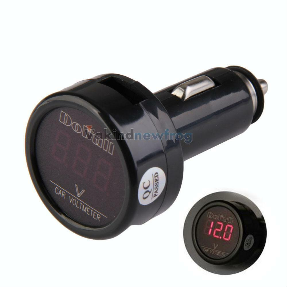 12v 24v digital voltmeter auto car battery cigarette lighter voltage gauge ebay. Black Bedroom Furniture Sets. Home Design Ideas