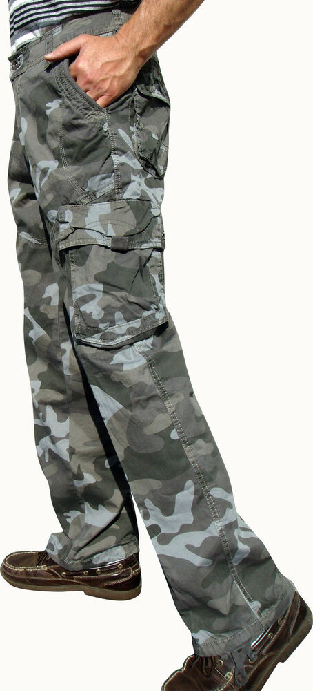 BNWT: MENS MILITARY-STYLE CAMO CARGO PANTS Size: 32-44