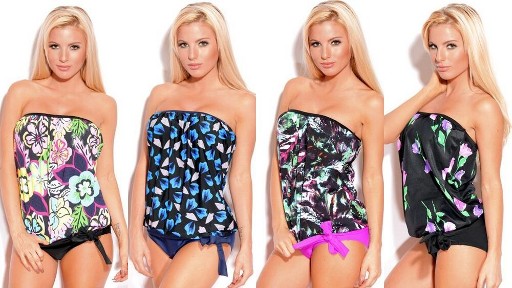 New 2 piece strapless bandeau blouson tie tankini women for Swim shirt with built in bra