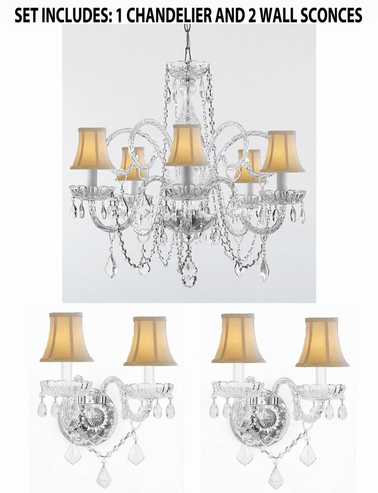 Wall Sconces Chandelier Crystal : 3pc Lighting Set - Crystal Chandelier and 2 Wall Sconces With White Shades! eBay