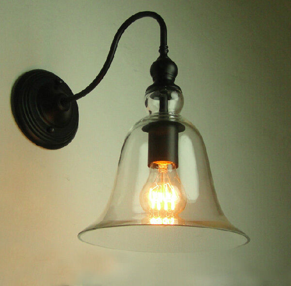 Wall Pendant Light: Vintage Industrial Wall Lamp Light Bell Shape Glass