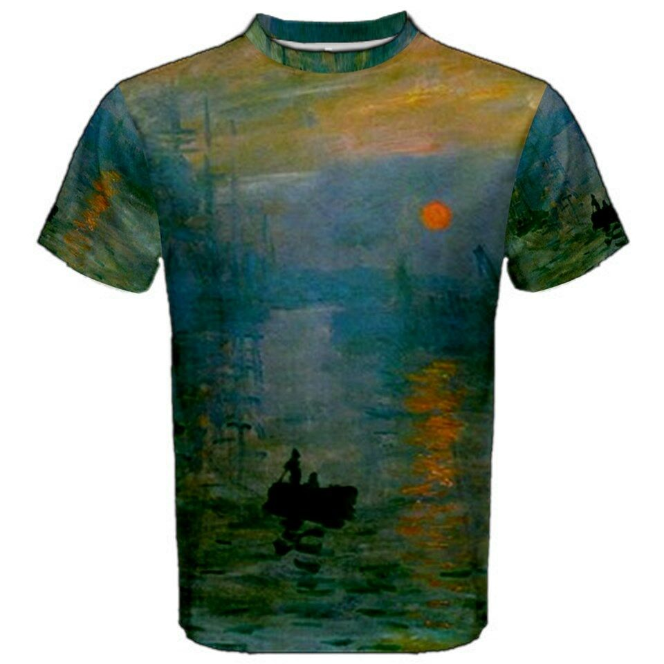claude monet sunrise impression sublimated sublimation t shirt s m l xl 2xl 3xl ebay. Black Bedroom Furniture Sets. Home Design Ideas