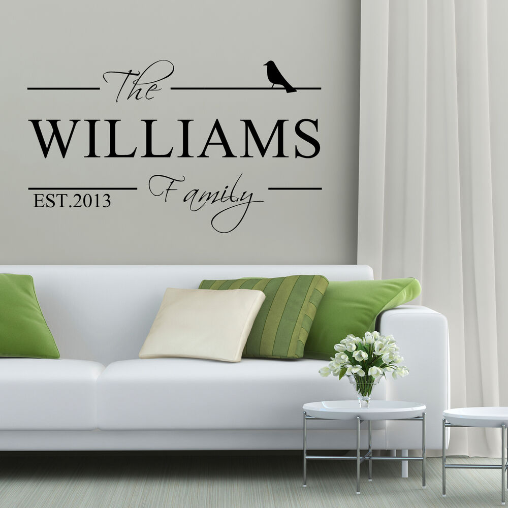 Personalised family name vinyl art wall sticker decal home - Panneau mural decoratif ...
