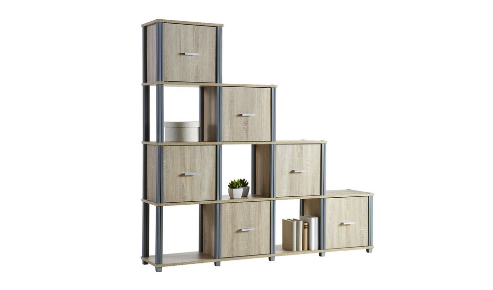 stufenregal treppenregal regal m bel dachschr ge wandregal b cherregal eiche ebay. Black Bedroom Furniture Sets. Home Design Ideas