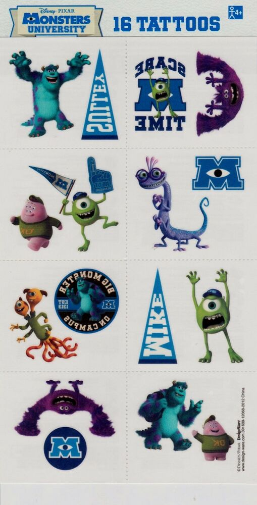 Monsters inc university temporary tattoos birthday party for Tattoo party ideas