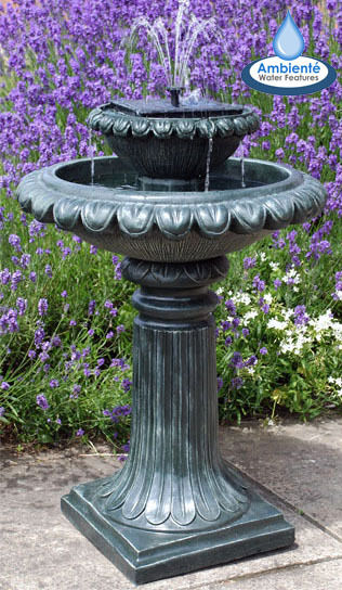 2 level birdbath water fountain feature solar powered for Bebederos para aves jardin