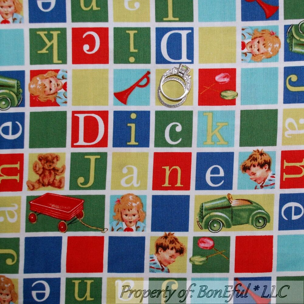 Boneful fabric fq cotton quilt red blue letter baby boy for Boy quilt fabric